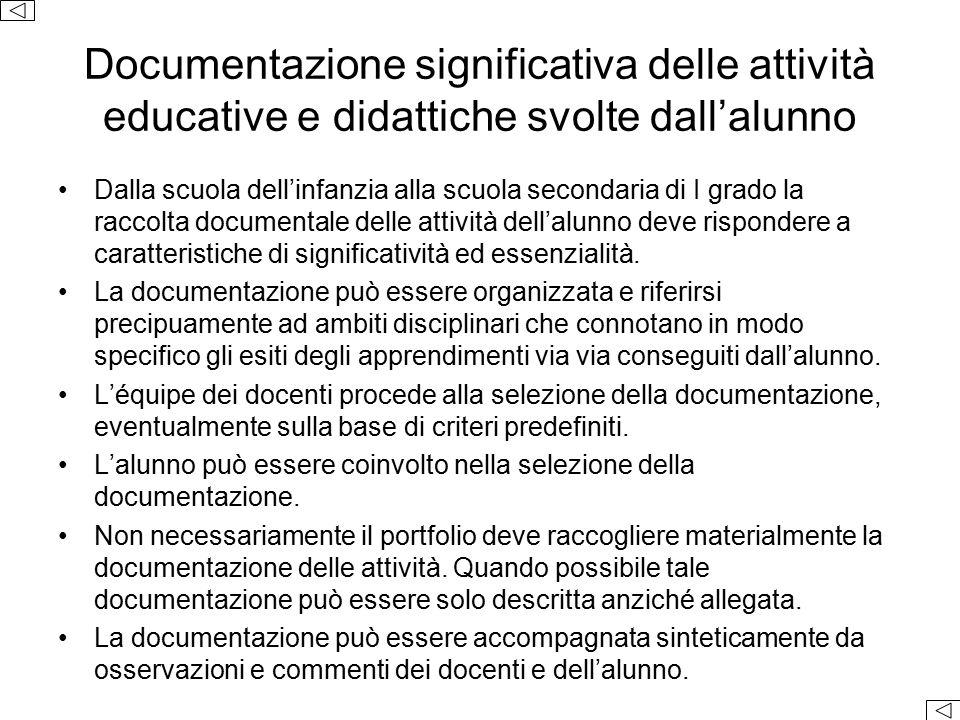 Documentazione significativa delle attività educative e didattiche svolte dall'alunno