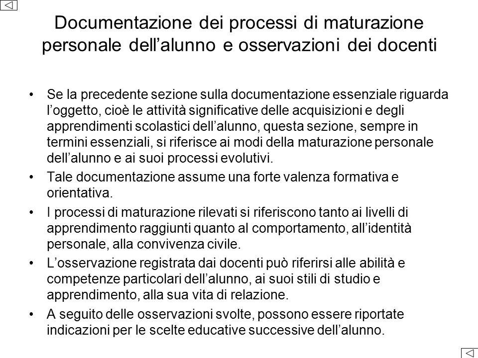 Documentazione dei processi di maturazione personale dell'alunno e osservazioni dei docenti