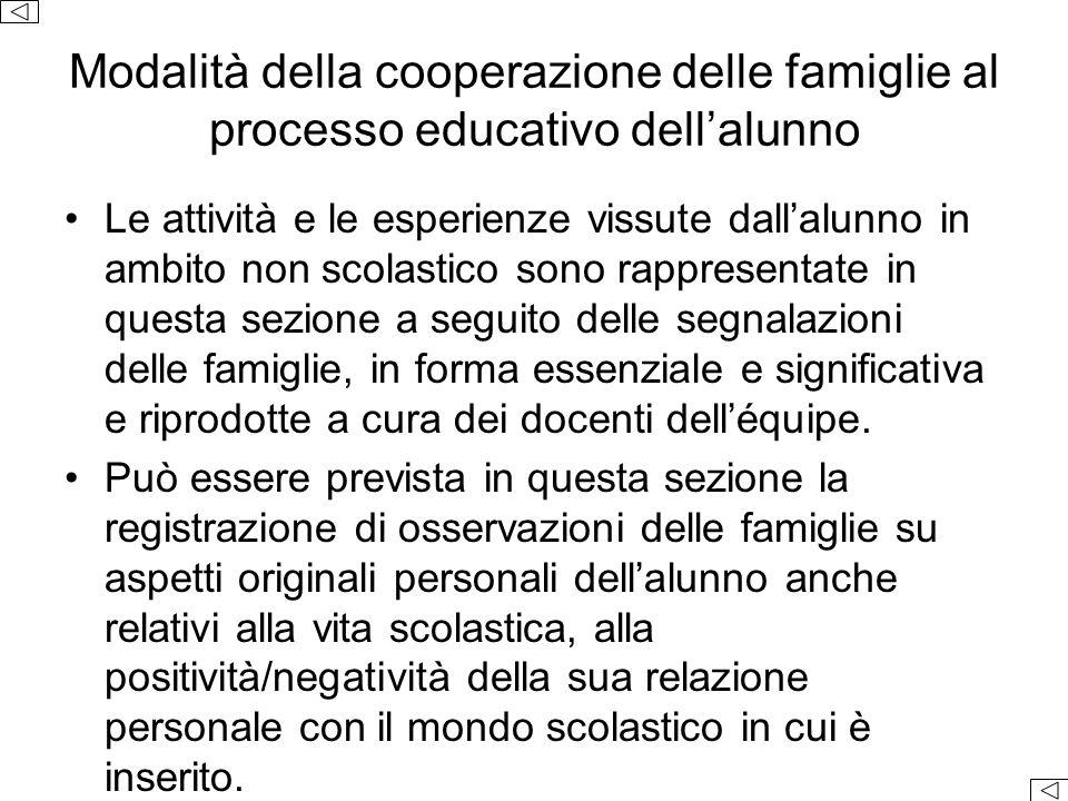Modalità della cooperazione delle famiglie al processo educativo dell'alunno