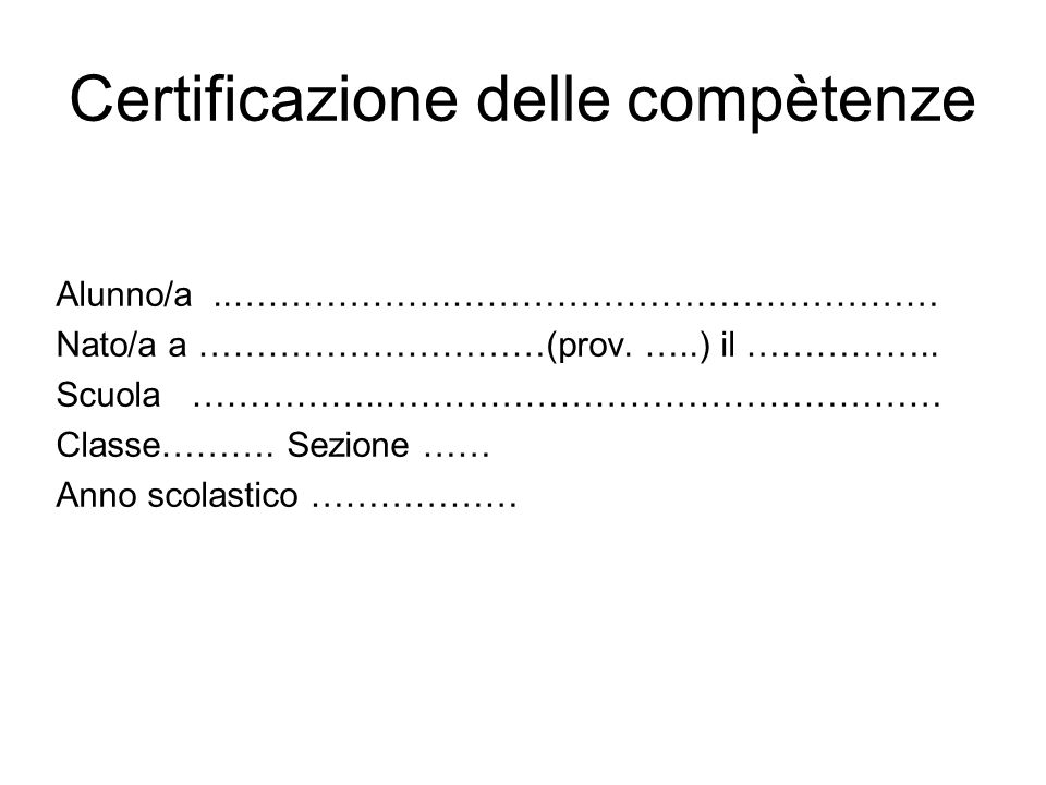 Certificazione delle compètenze