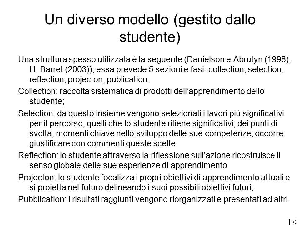 Un diverso modello (gestito dallo studente)