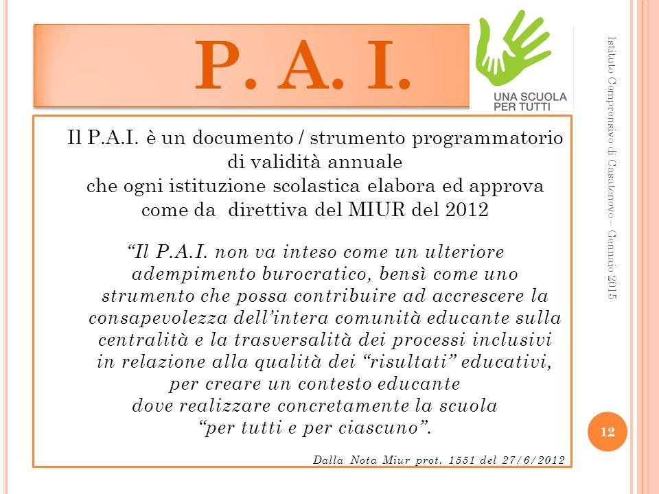 P. A. I. Il P.A.I. è un documento / strumento programmatorio