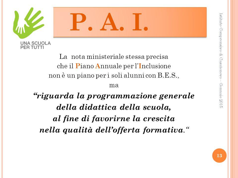P. A. I. riguarda la programmazione generale
