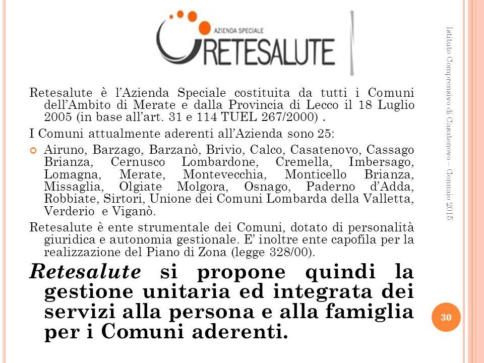 Retesalute è l'Azienda Speciale costituita da tutti i Comuni dell'Ambito di Merate e dalla Provincia di Lecco il 18 Luglio 2005 (in base all'art. 31 e 114 TUEL 267/2000) .