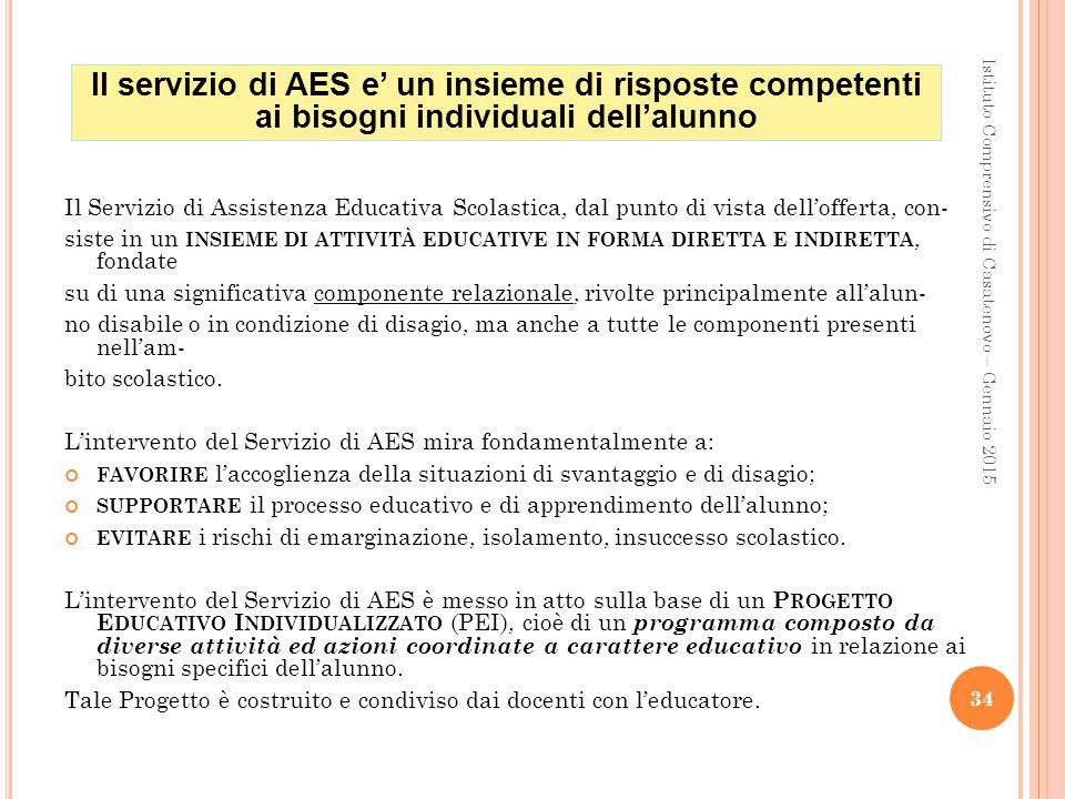 Il servizio di AES e' un insieme di risposte competenti ai bisogni individuali dell'alunno