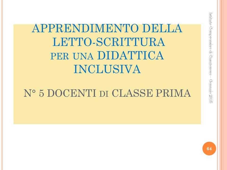 APPRENDIMENTO DELLA LETTO-SCRITTURA per una DIDATTICA INCLUSIVA N° 5 DOCENTI di CLASSE PRIMA