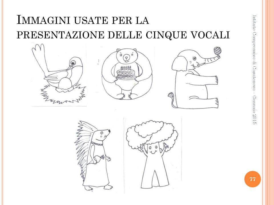 Immagini usate per la presentazione delle cinque vocali