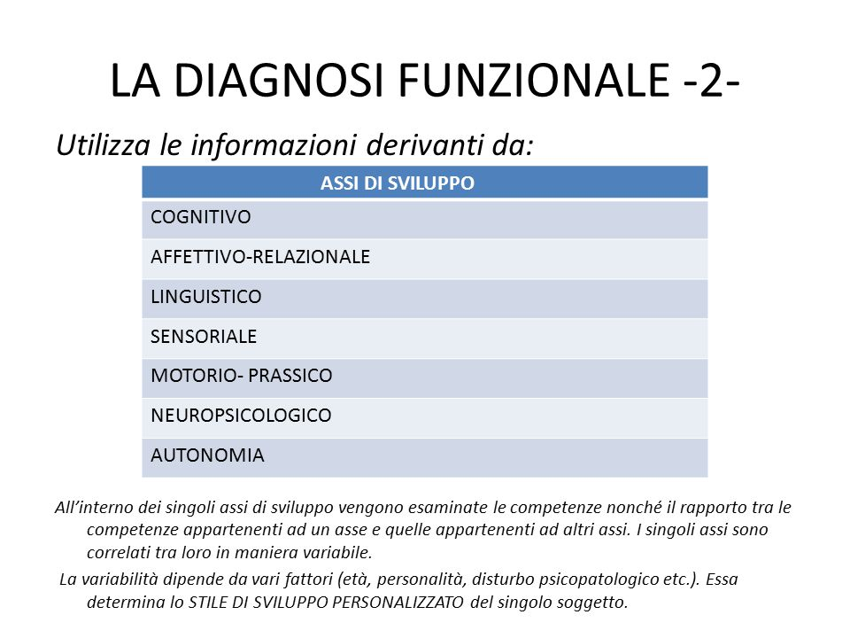 LA DIAGNOSI FUNZIONALE -2-