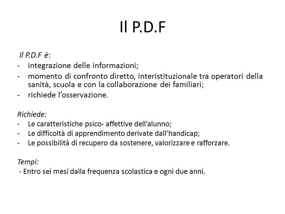 Il P.D.F Il P.D.F è: - integrazione delle informazioni;
