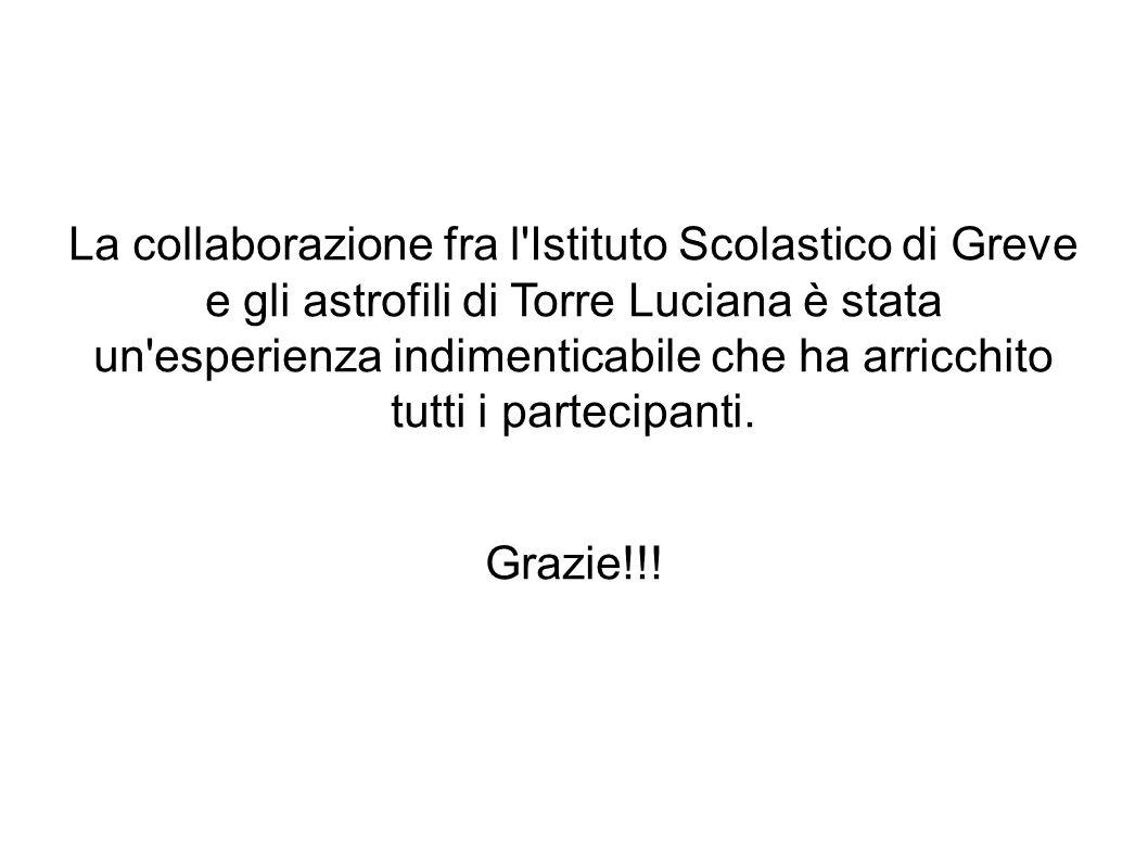 La collaborazione fra l Istituto Scolastico di Greve e gli astrofili di Torre Luciana è stata un esperienza indimenticabile che ha arricchito tutti i partecipanti.