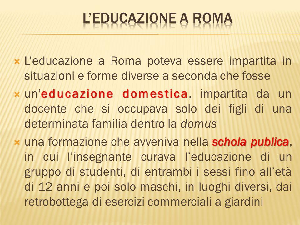 L'educazione a roma L'educazione a Roma poteva essere impartita in situazioni e forme diverse a seconda che fosse.