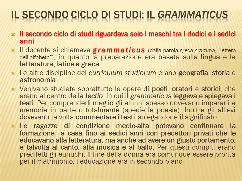 Il secondo ciclo di studi: il grammaticus