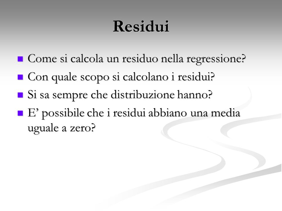 Residui Come si calcola un residuo nella regressione