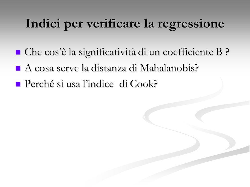 Indici per verificare la regressione