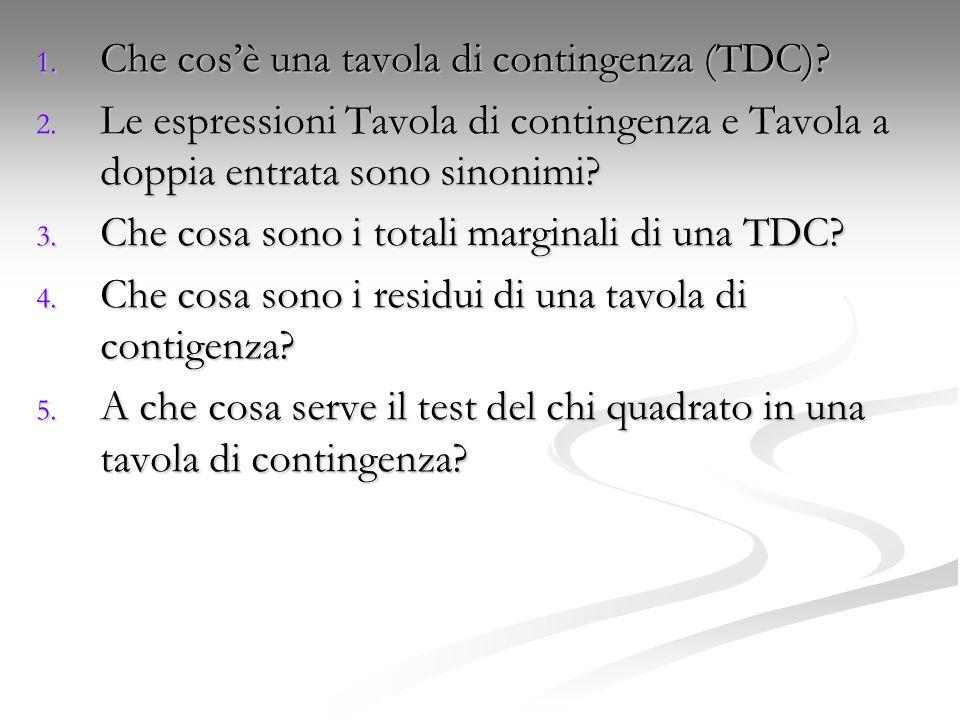 Che cos'è una tavola di contingenza (TDC)