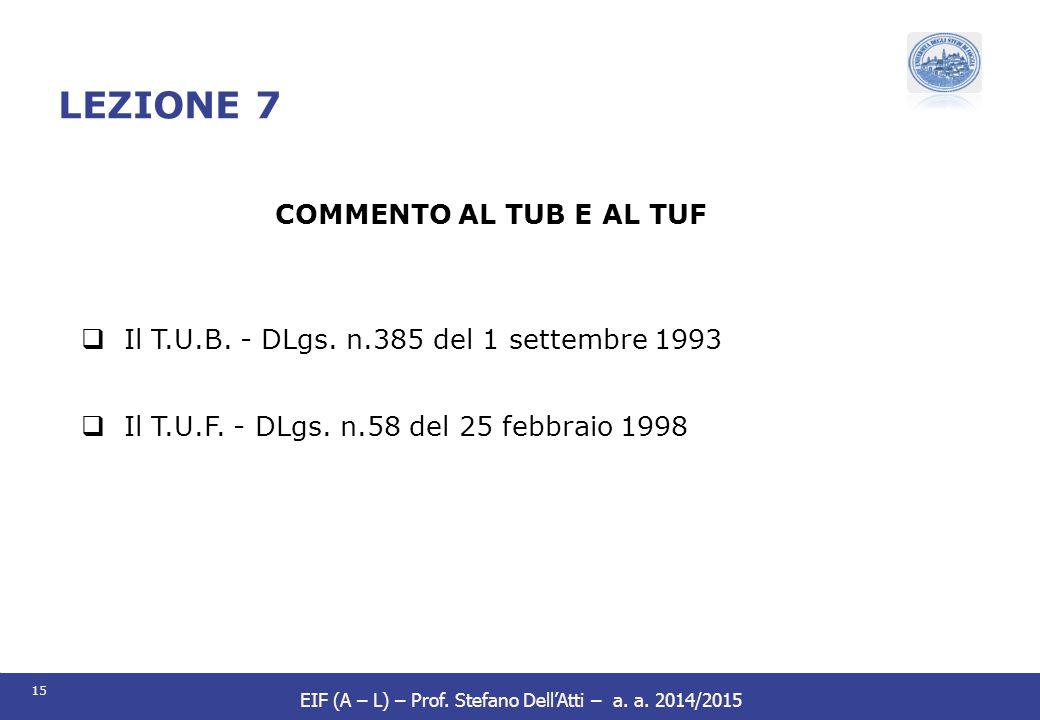 LEZIONE 7 COMMENTO AL TUB E AL TUF