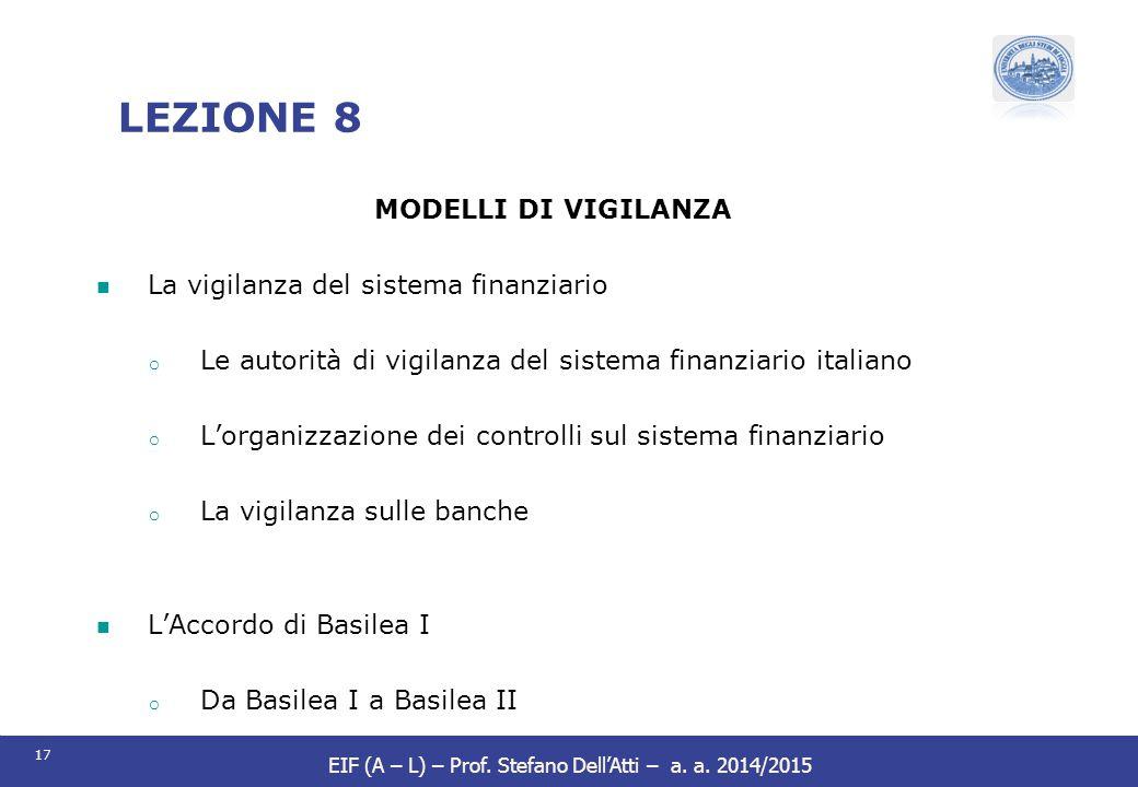 LEZIONE 8 MODELLI DI VIGILANZA La vigilanza del sistema finanziario