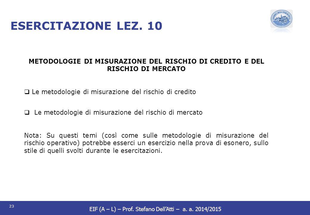 ESERCITAZIONE LEZ. 10 METODOLOGIE DI MISURAZIONE DEL RISCHIO DI CREDITO E DEL RISCHIO DI MERCATO.