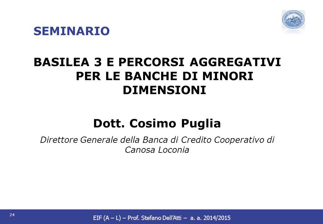 BASILEA 3 E PERCORSI AGGREGATIVI PER LE BANCHE DI MINORI DIMENSIONI