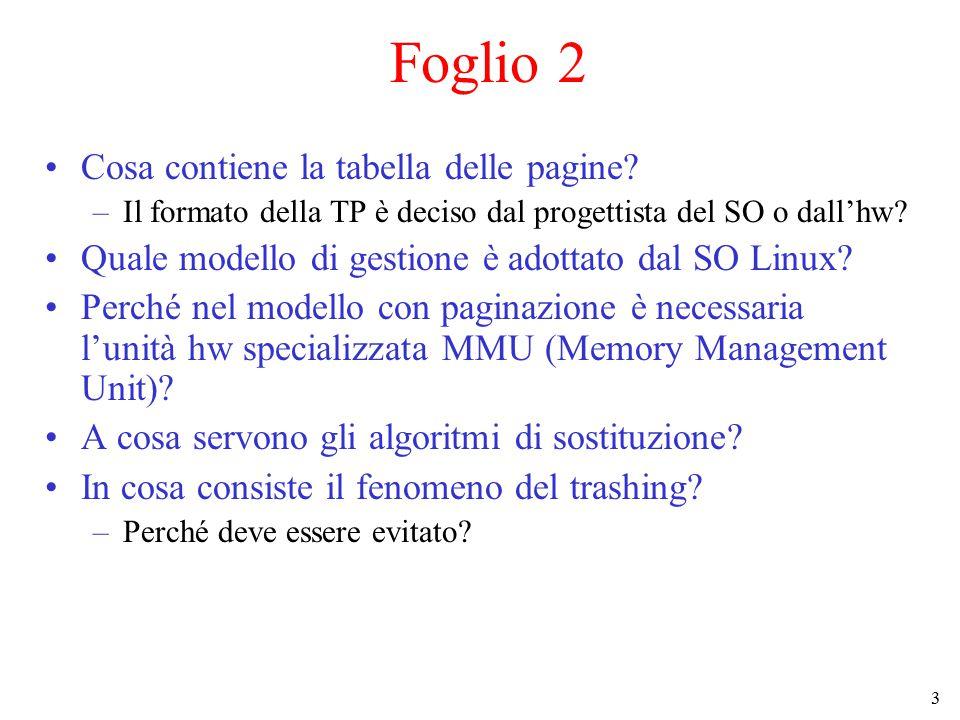 Foglio 2 Cosa contiene la tabella delle pagine