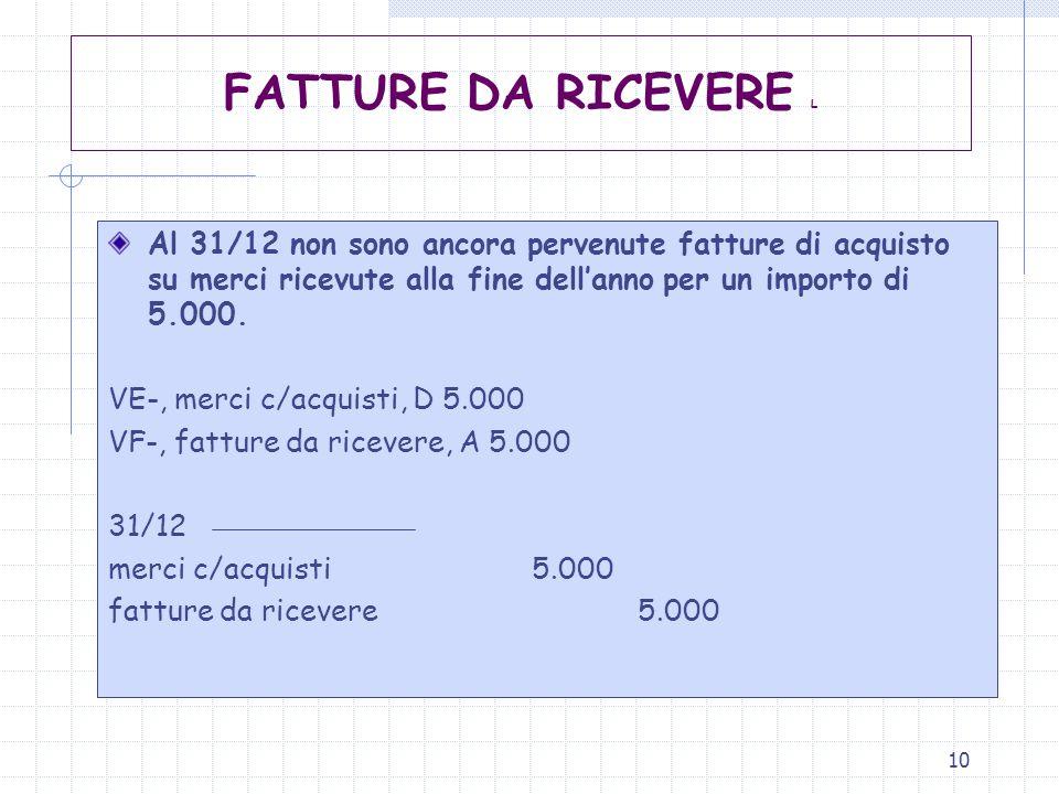 FATTURE DA RICEVERE L Al 31/12 non sono ancora pervenute fatture di acquisto su merci ricevute alla fine dell'anno per un importo di 5.000.