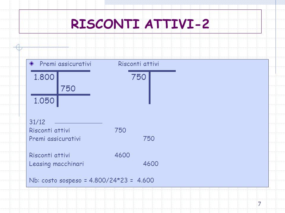 RISCONTI ATTIVI-2 Premi assicurativi Risconti attivi. 31/12. Risconti attivi 750. Premi assicurativi 750.