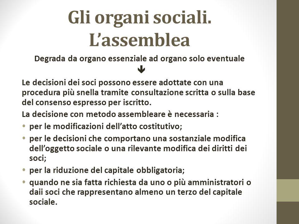 Gli organi sociali. L'assemblea