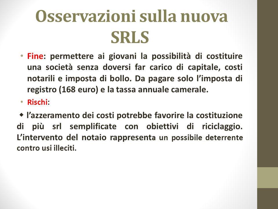 Osservazioni sulla nuova SRLS