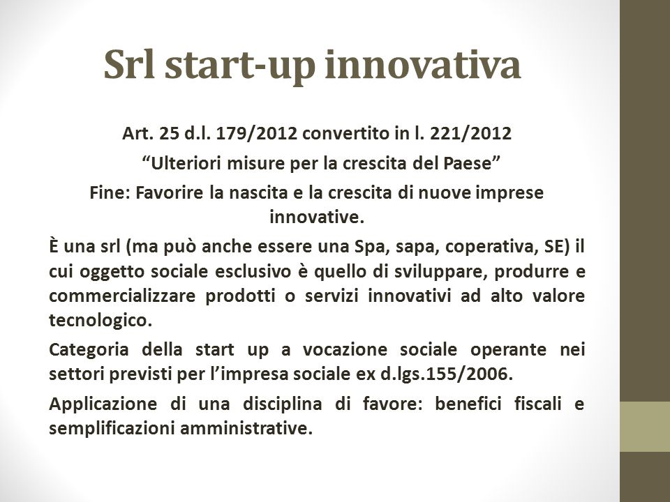 Srl start-up innovativa