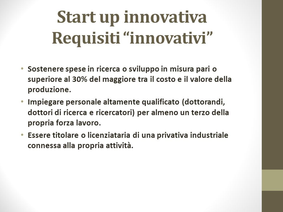 Start up innovativa Requisiti innovativi