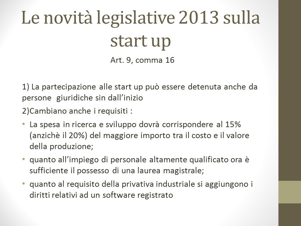 Le novità legislative 2013 sulla start up