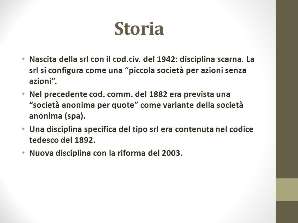 Storia Nascita della srl con il cod.civ. del 1942: disciplina scarna. La srl si configura come una piccola società per azioni senza azioni .