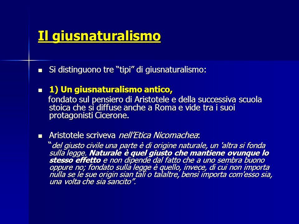 Il giusnaturalismo Si distinguono tre tipi di giusnaturalismo: