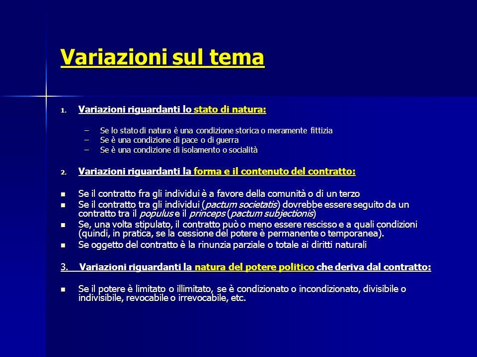 Variazioni sul tema Variazioni riguardanti lo stato di natura:
