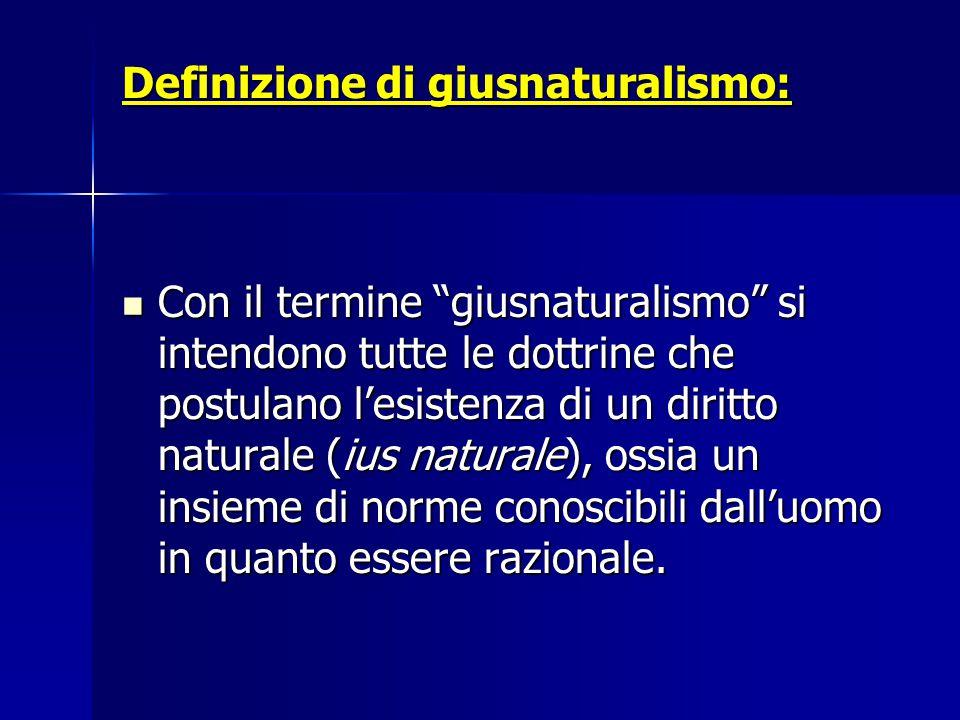 Definizione di giusnaturalismo: