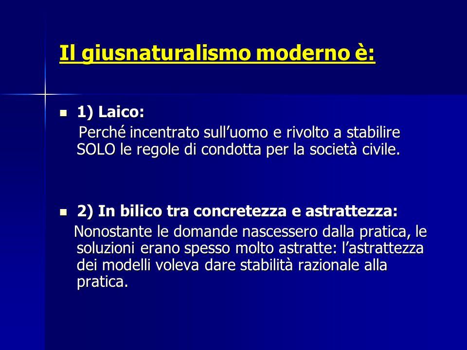 Il giusnaturalismo moderno è: