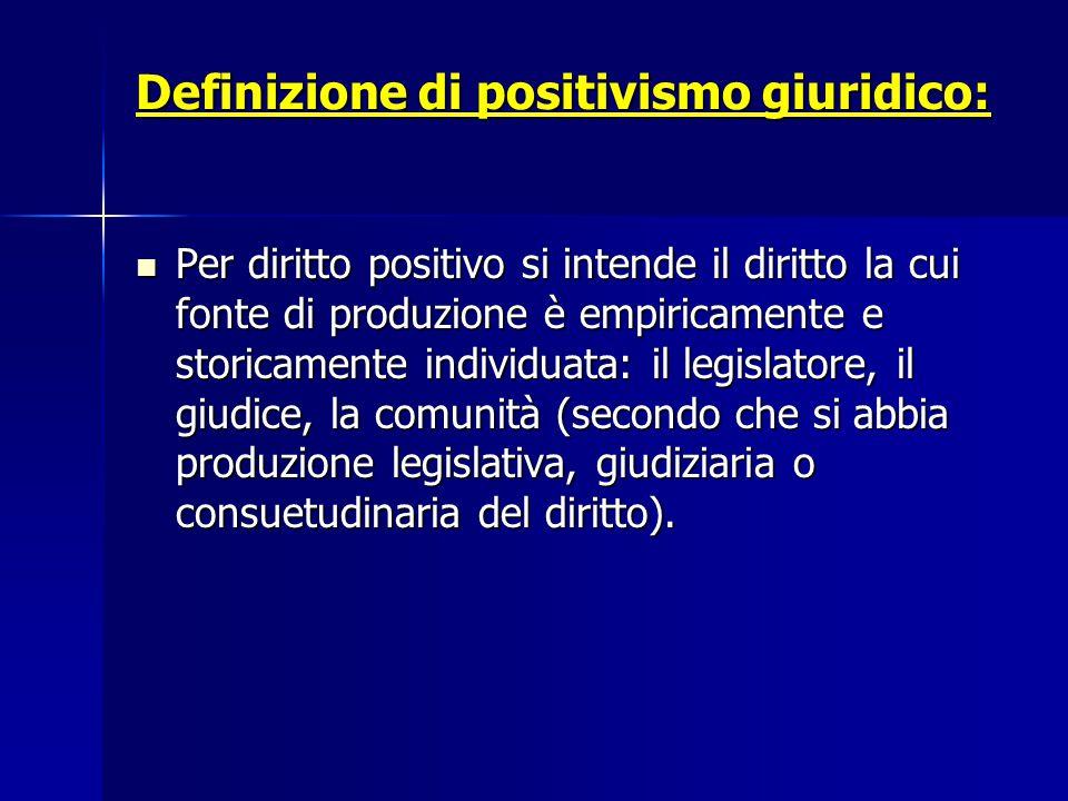 Definizione di positivismo giuridico: