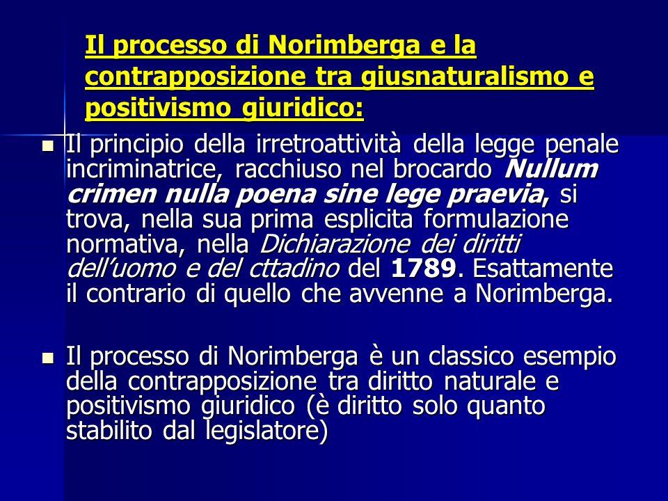 Il processo di Norimberga e la contrapposizione tra giusnaturalismo e positivismo giuridico: