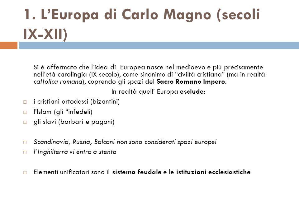1. L'Europa di Carlo Magno (secoli IX-XII)