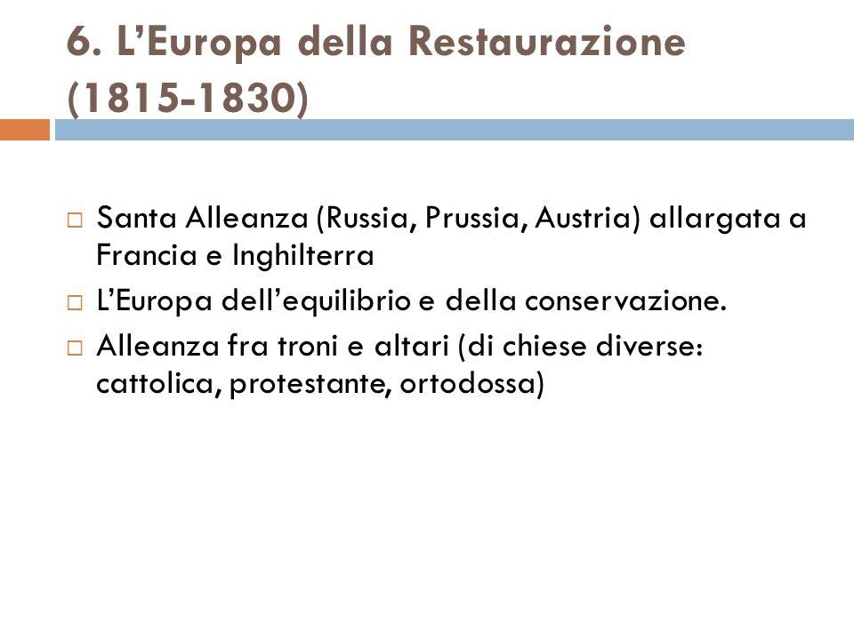 6. L'Europa della Restaurazione (1815-1830)