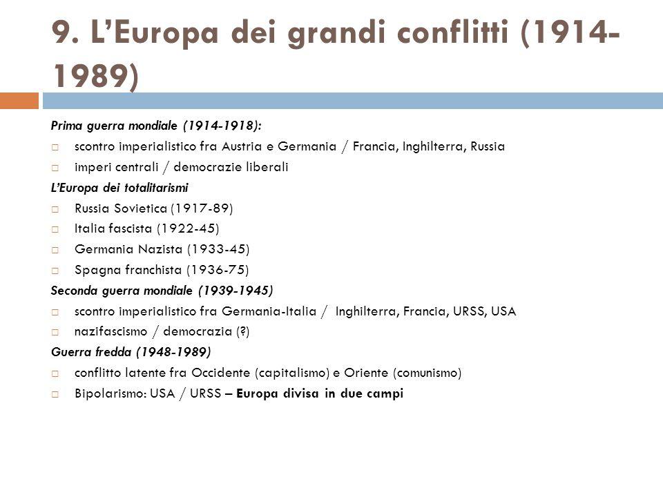9. L'Europa dei grandi conflitti (1914-1989)
