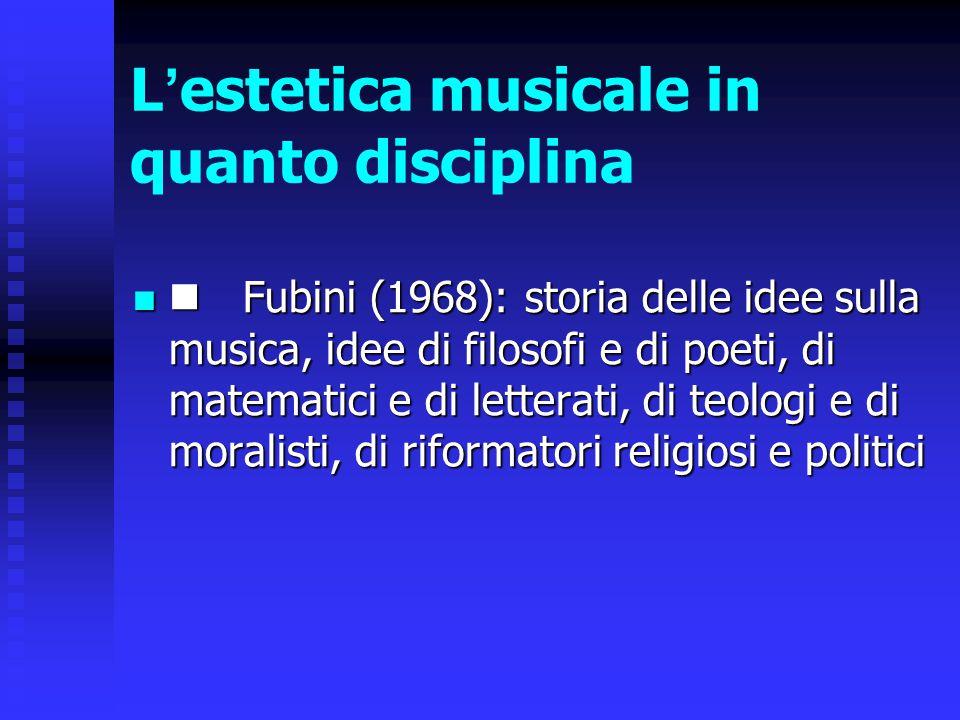 L'estetica musicale in quanto disciplina