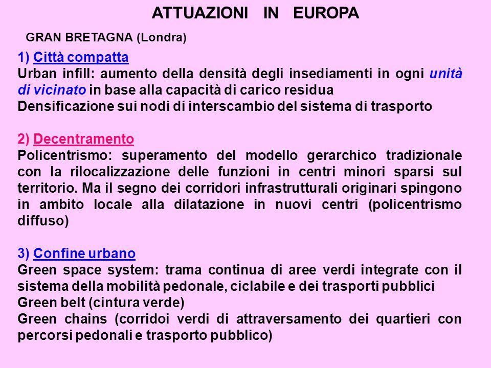 ATTUAZIONI IN EUROPA 1) Città compatta