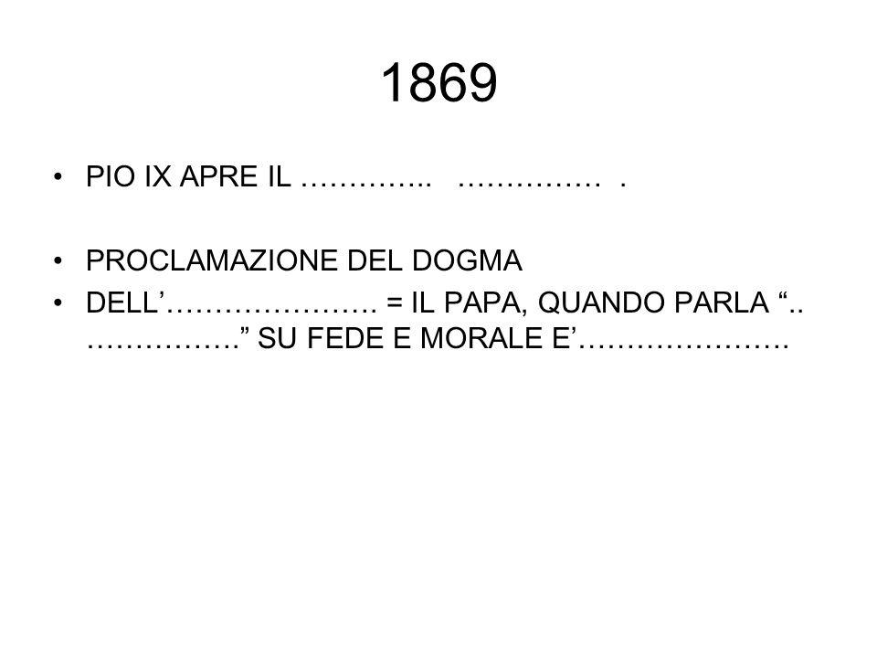 1869 PIO IX APRE IL ………….. …………… . PROCLAMAZIONE DEL DOGMA