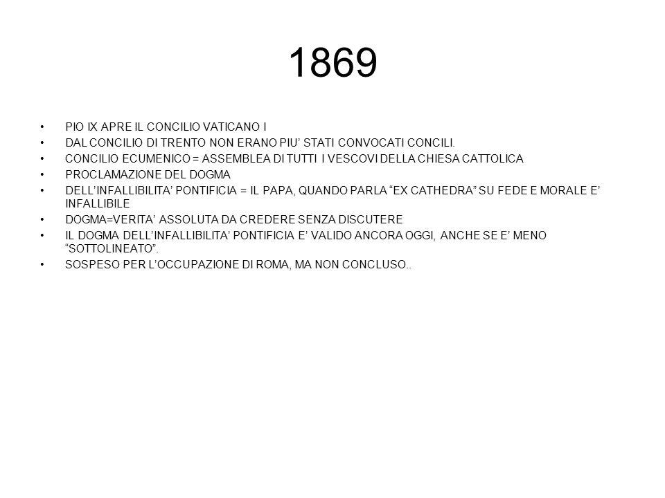 1869 PIO IX APRE IL CONCILIO VATICANO I