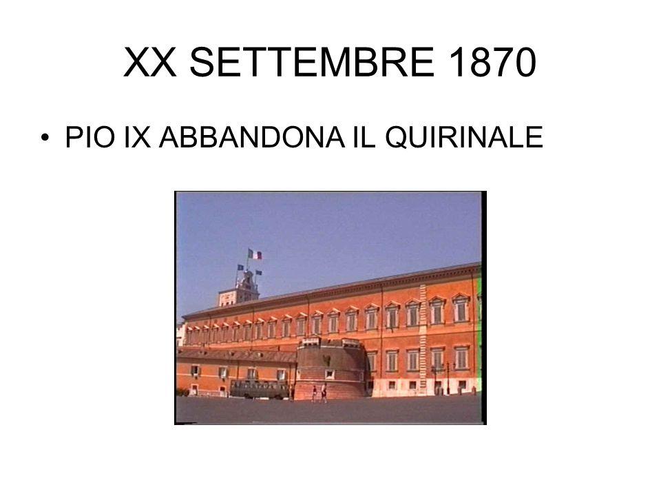XX SETTEMBRE 1870 PIO IX ABBANDONA IL QUIRINALE