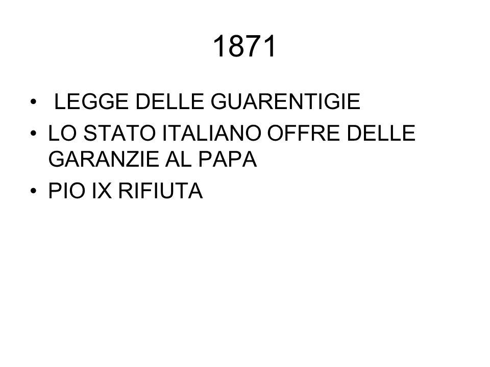 1871 LEGGE DELLE GUARENTIGIE