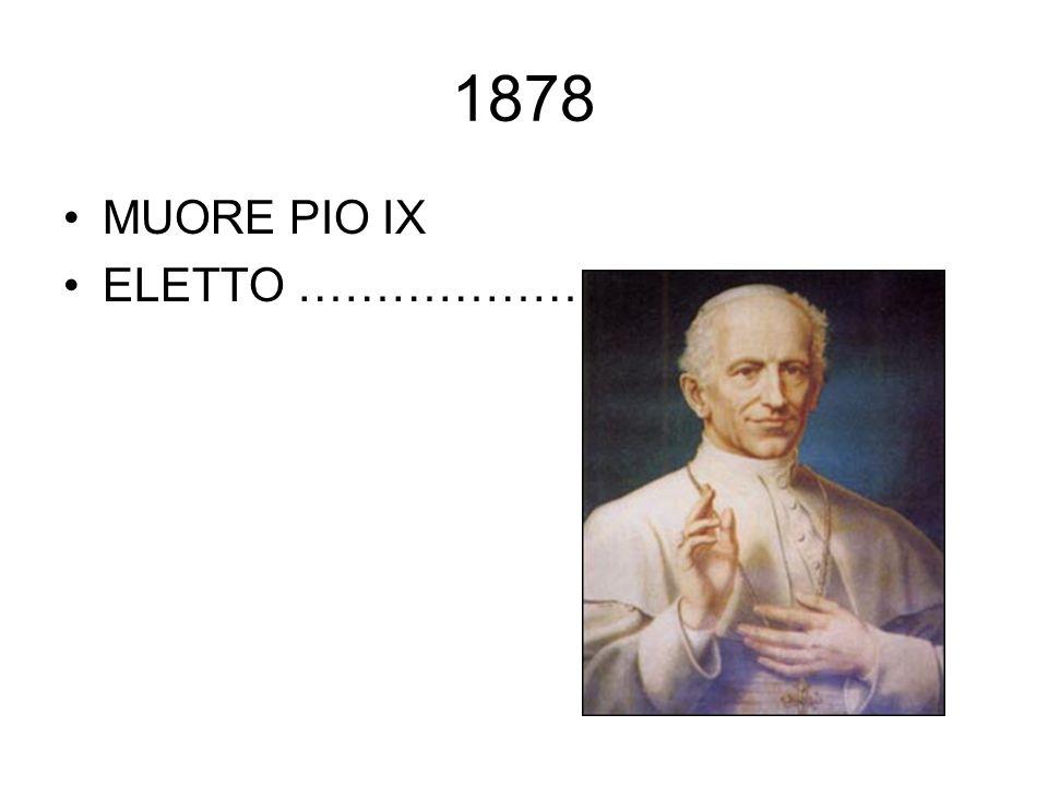 1878 MUORE PIO IX ELETTO ………………