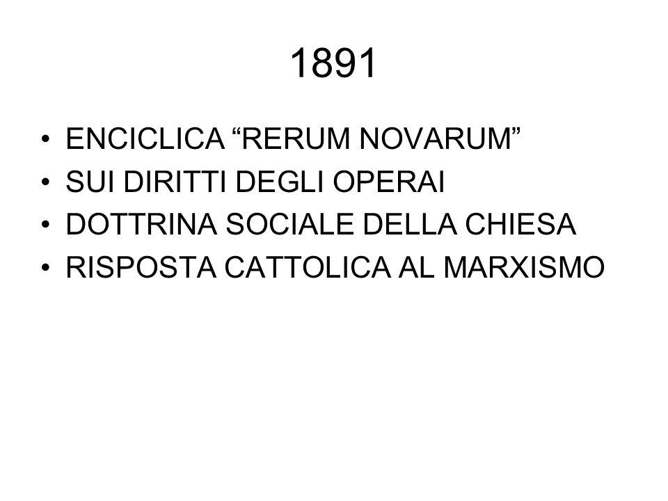 1891 ENCICLICA RERUM NOVARUM SUI DIRITTI DEGLI OPERAI