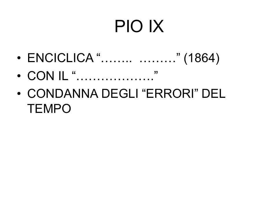 PIO IX ENCICLICA …….. ……… (1864) CON IL ……………….